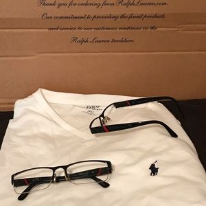 Polo Ralph Lauren Men Black & Red Half Rim Frames